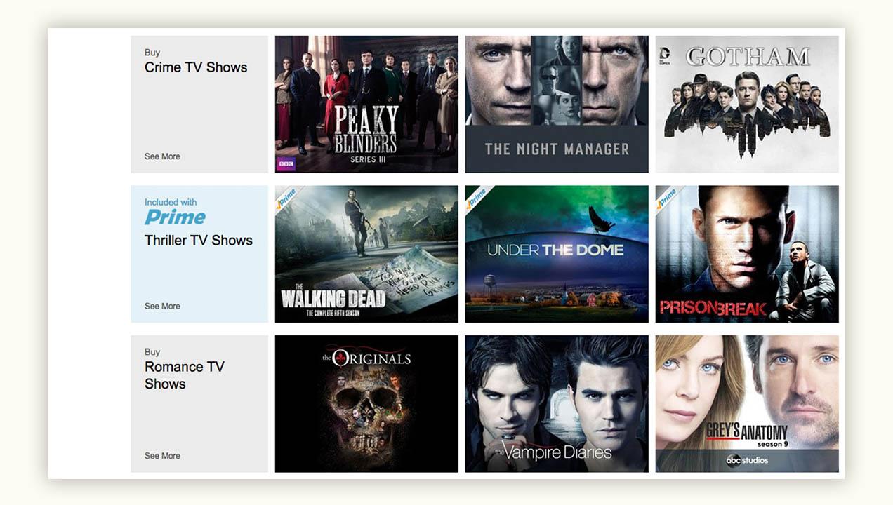 Amazon Prime Screenshot, Themed programmes