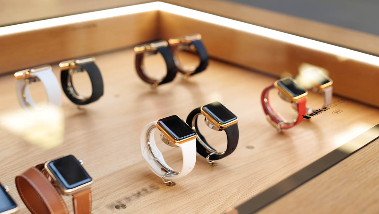Apple watches on display