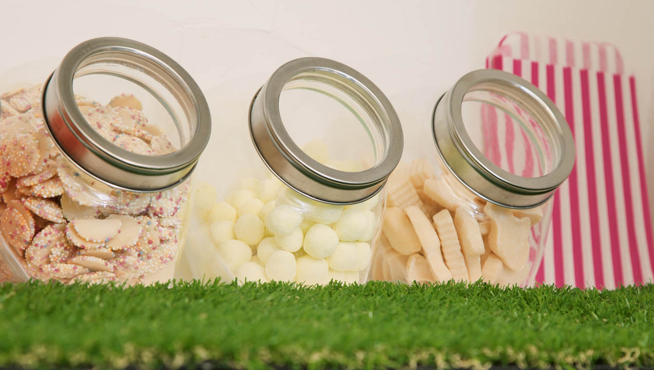 Close up of sweet jars