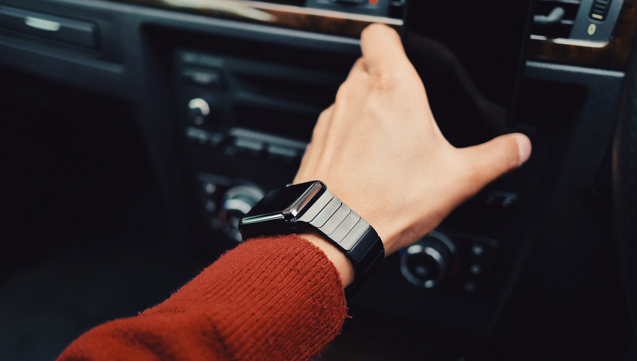 Apple watch being used in a car