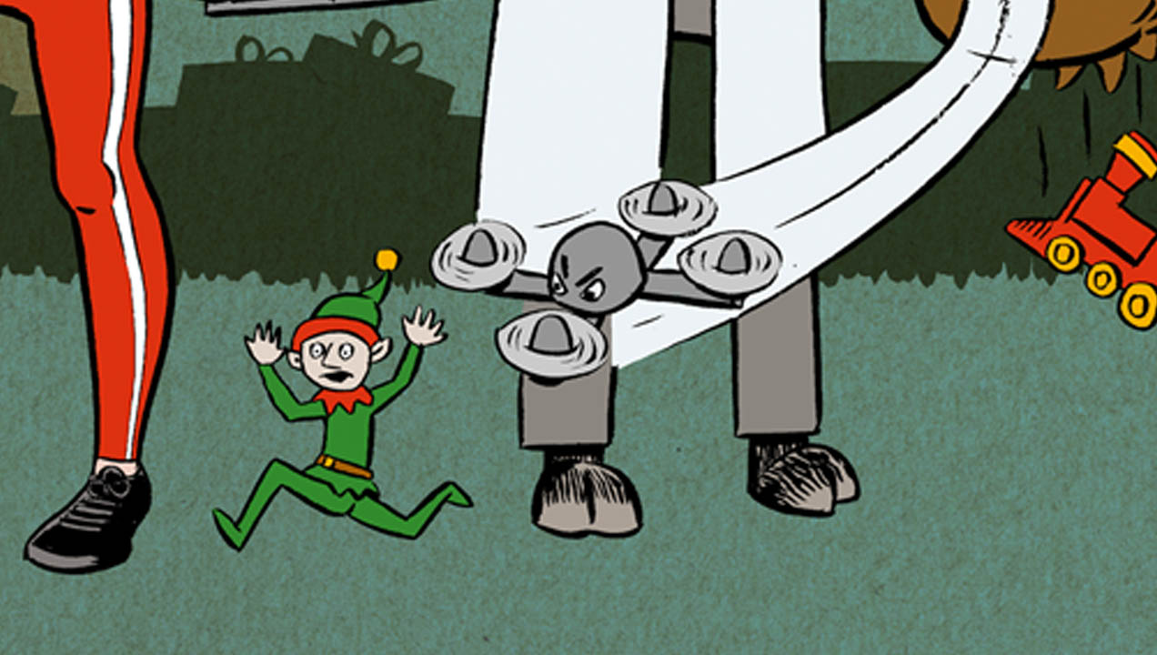 illustration of an elf being chased by a drone