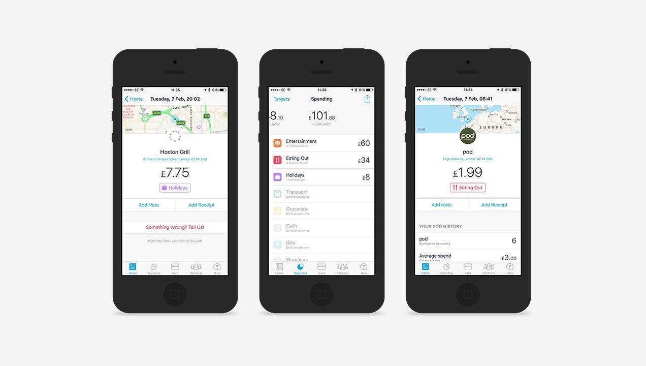 Screenshots of the Monzo App