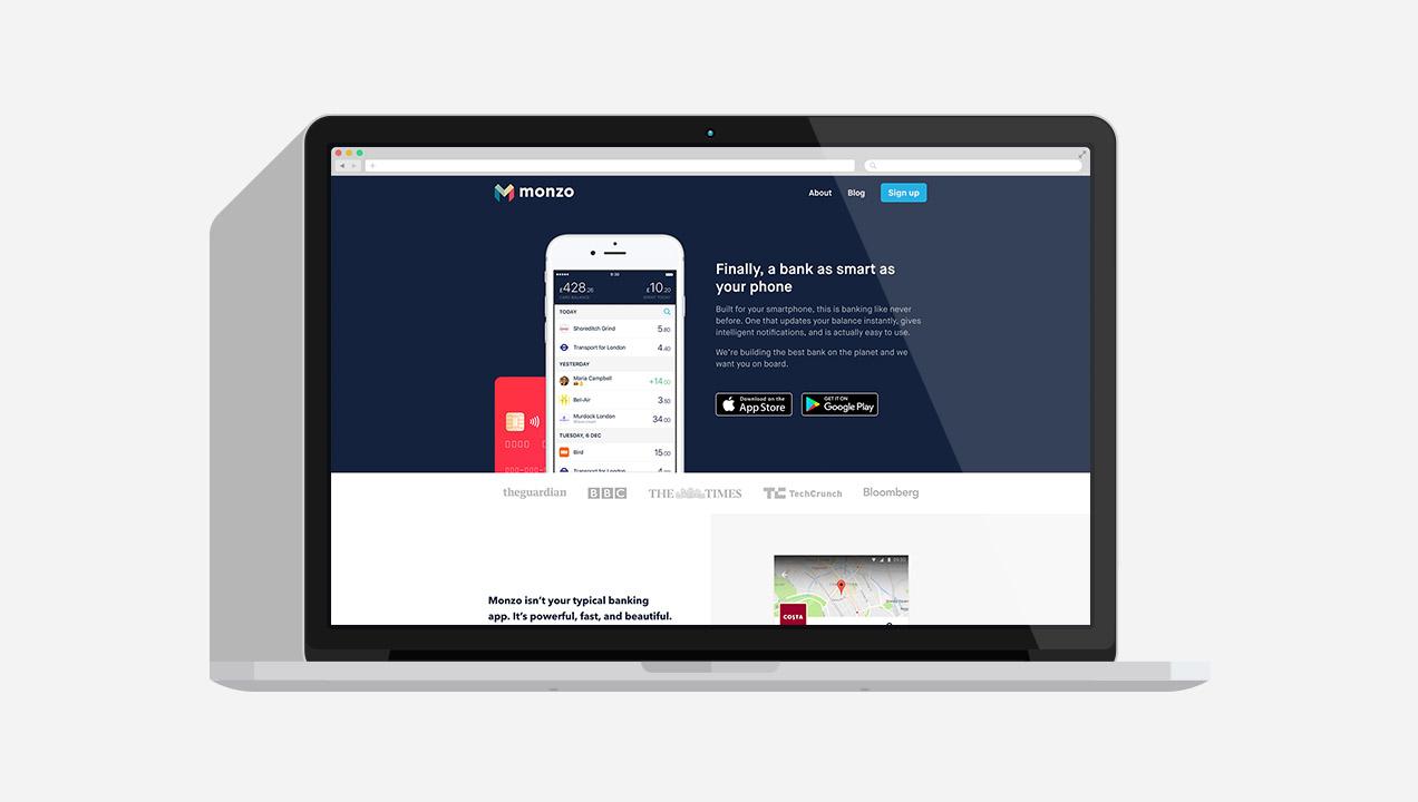Monzo webpage