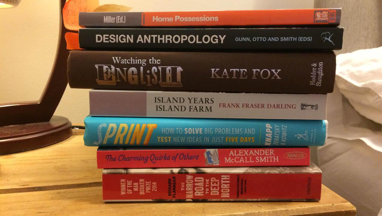 Stack of Imogen's books
