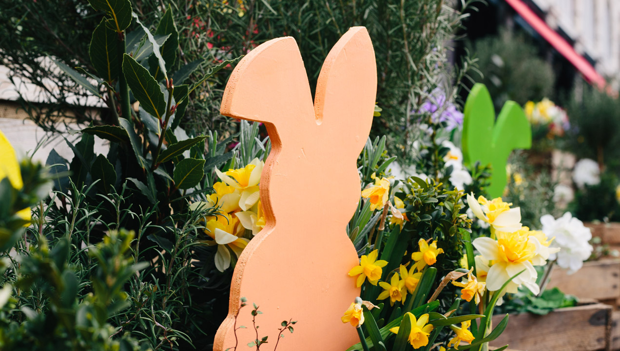 Wooden rabbit in plant pot
