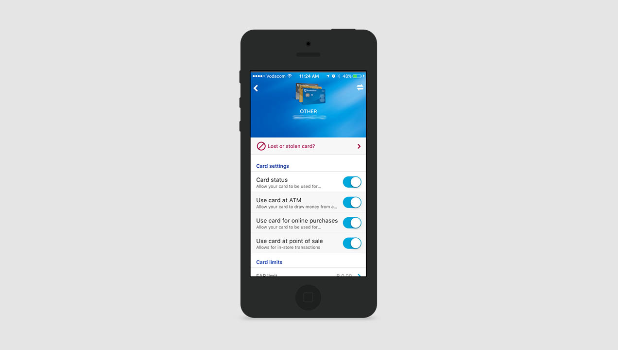Standard Bank (South Africa) provides app access to a range of card settings