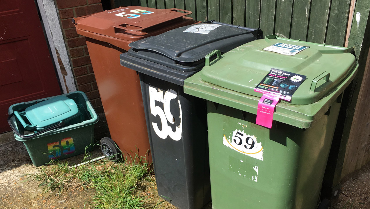 Image of the bins Mark has to use at his home