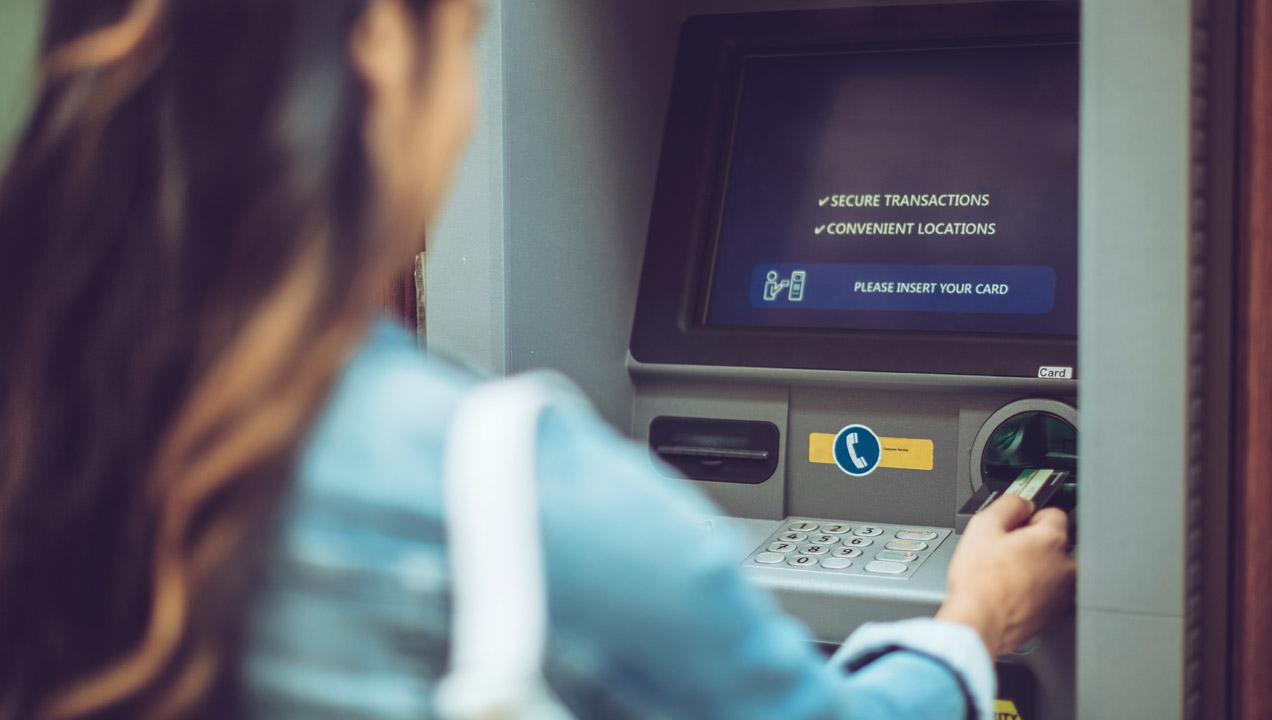 User using ATM