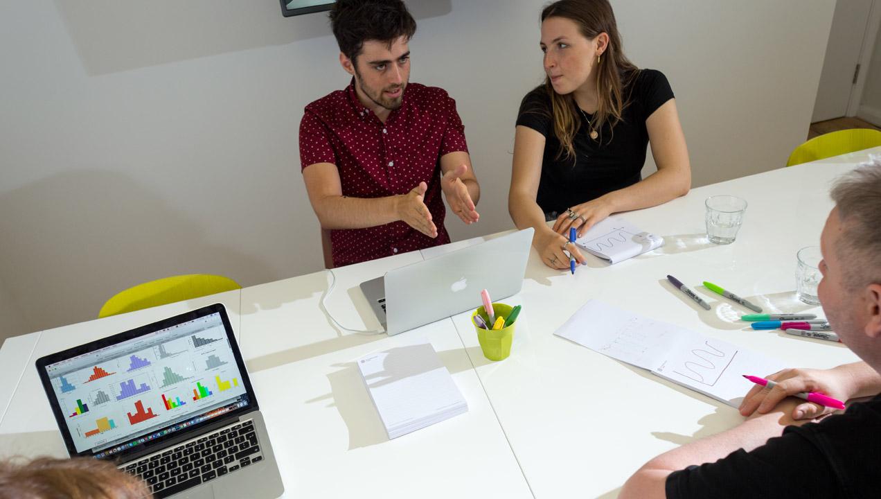 Team discussing and designing