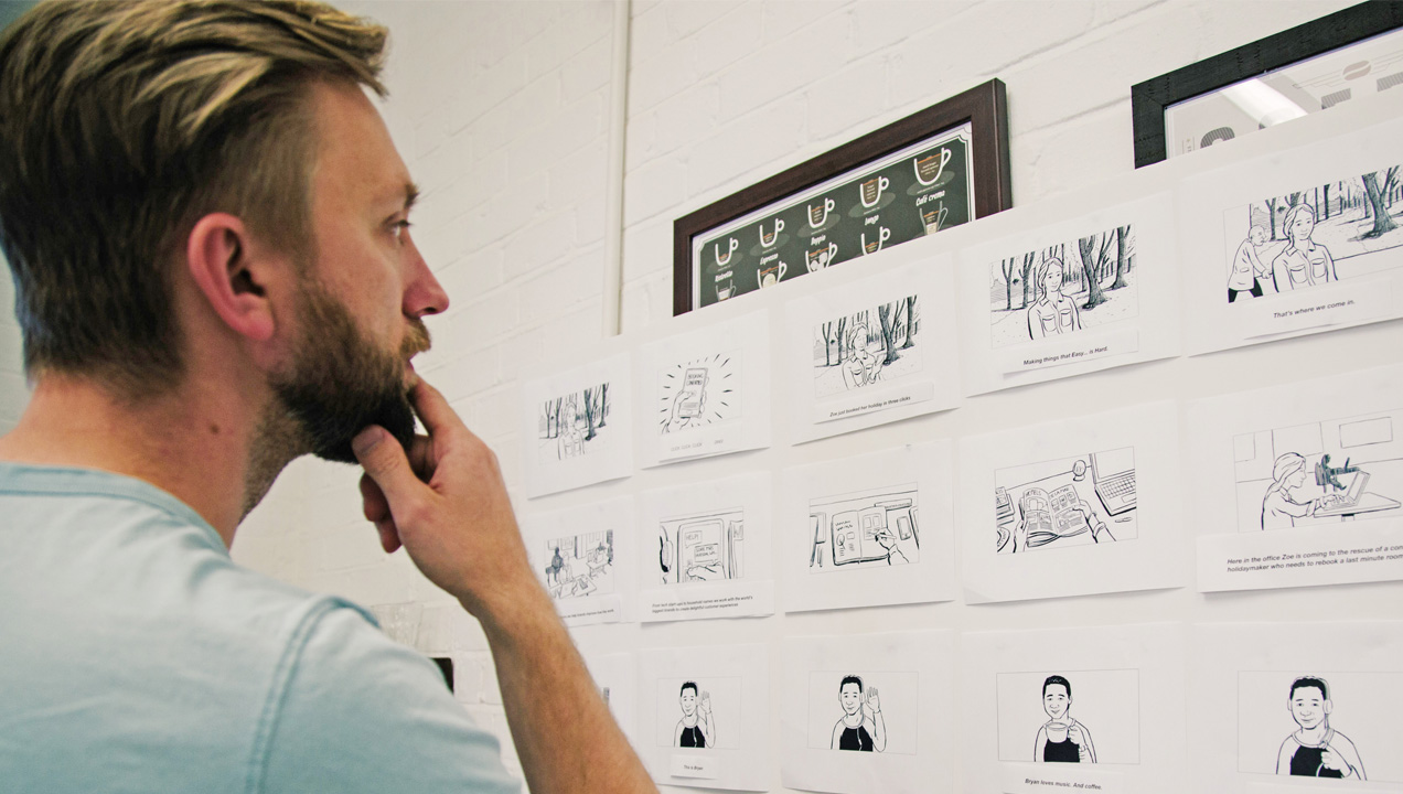 Anton viewing a story board