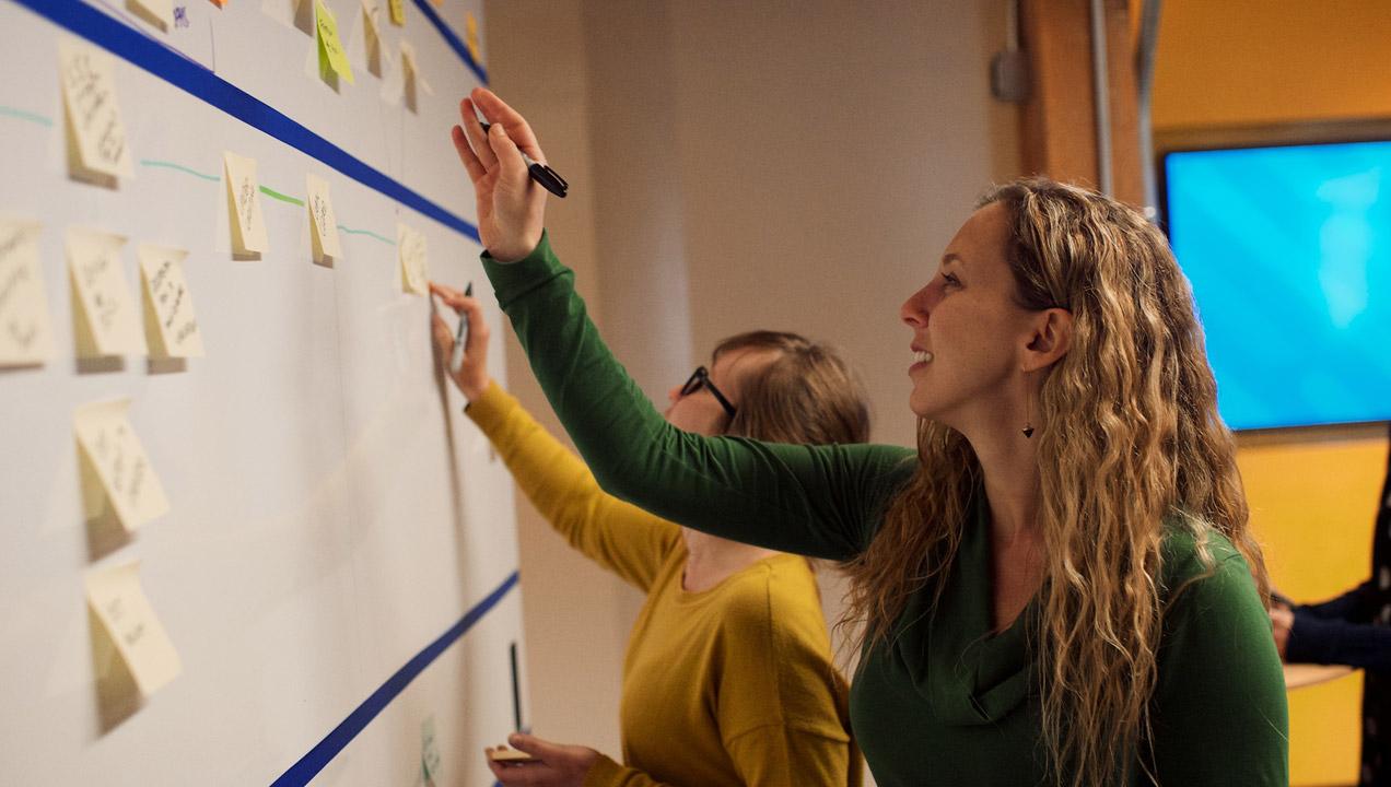Our team designing the script