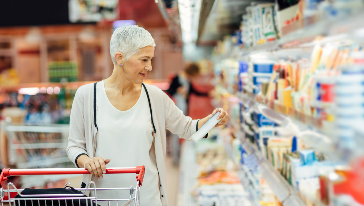 A lady shopping at a supermarket