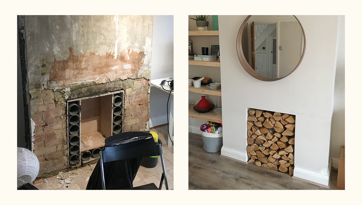 A before and after of one of Mark's DIY projects