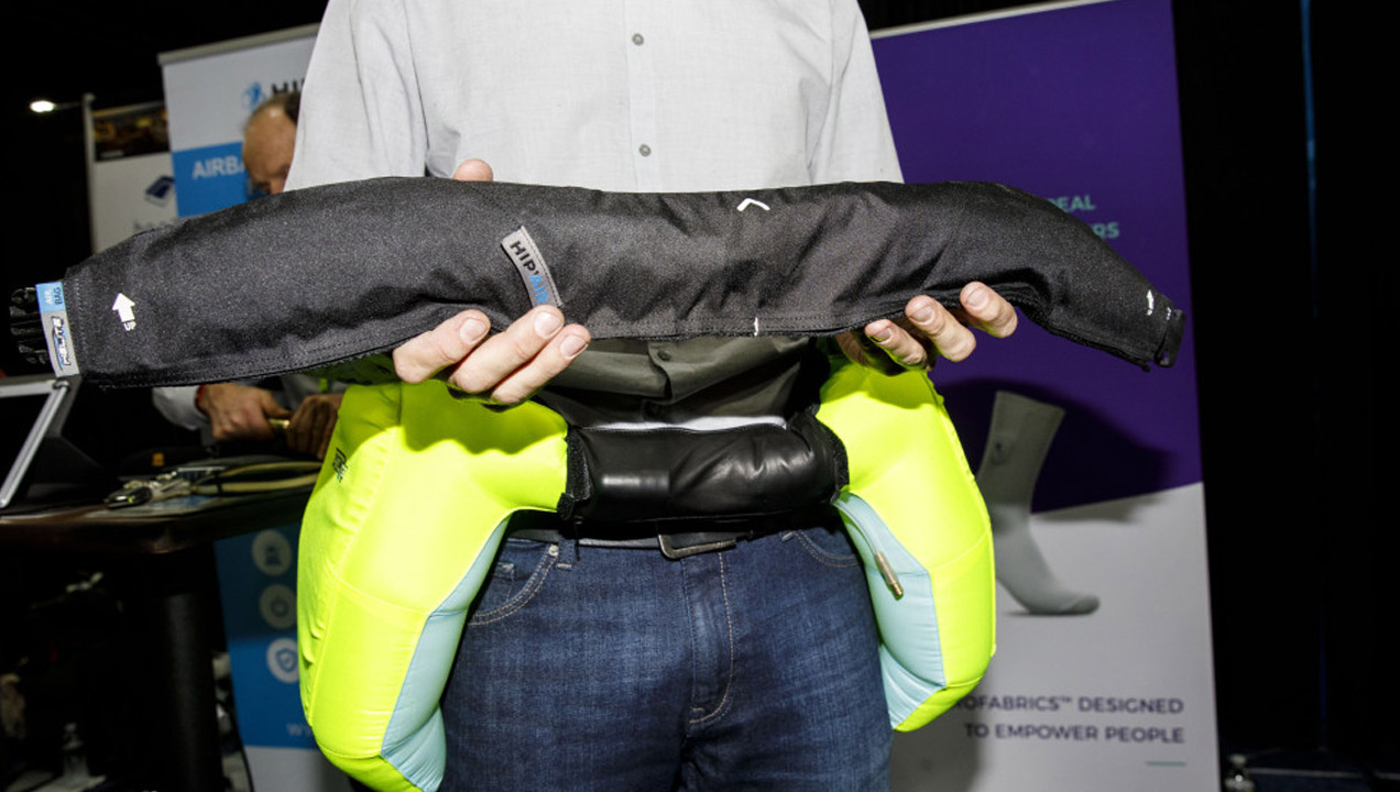Helite wearable airbag that protect against hip fractures. Patrick T. Fallon—Bloomberg via Getty Images