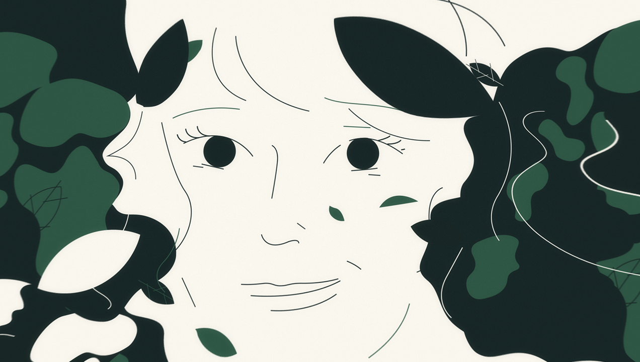 A screenshot from the animation depicting a woman's face