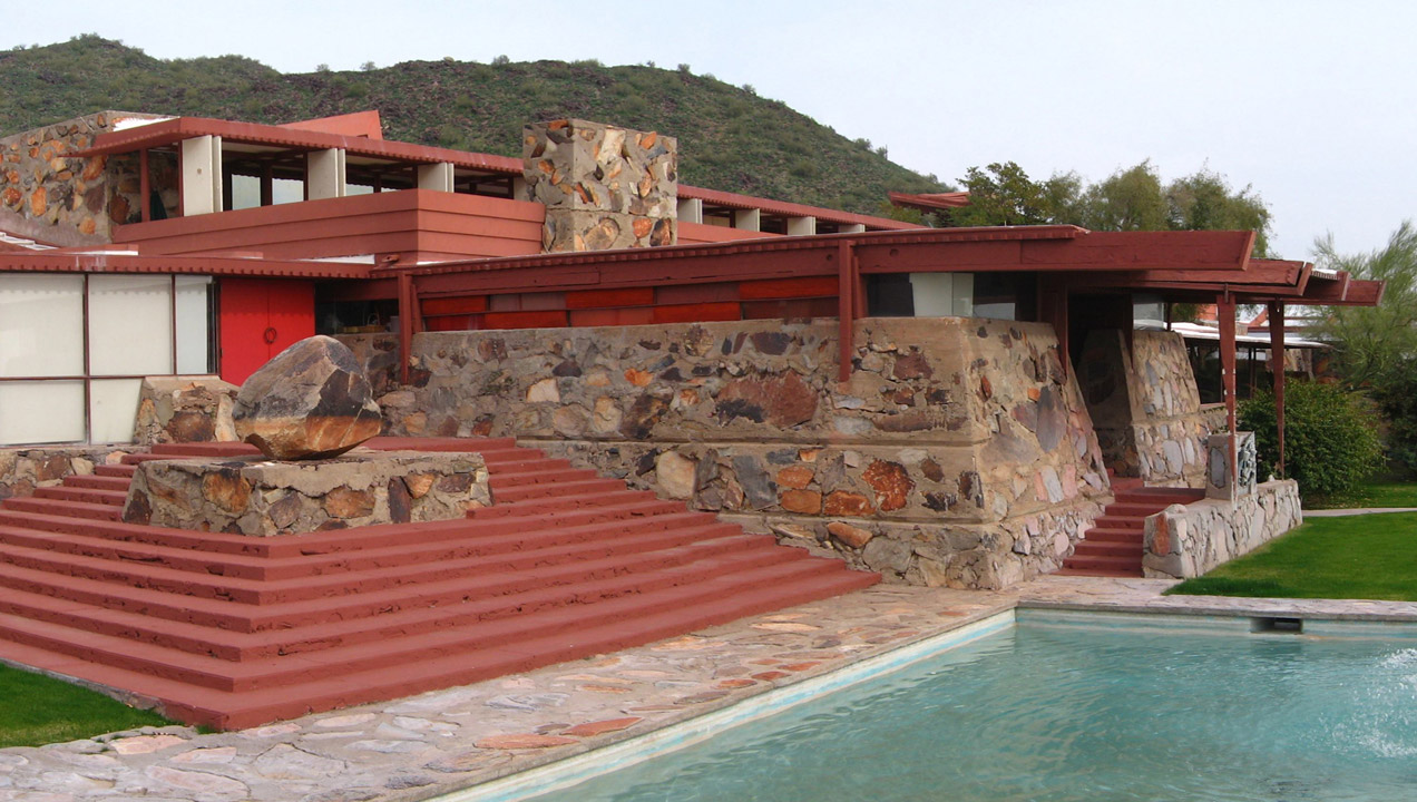 Greg O'Beirne/Wikimedia Commons via Creative Commons license, One of the buildings at Taliesin West, the Frank Lloyd Wright School of Architecture's main campus.