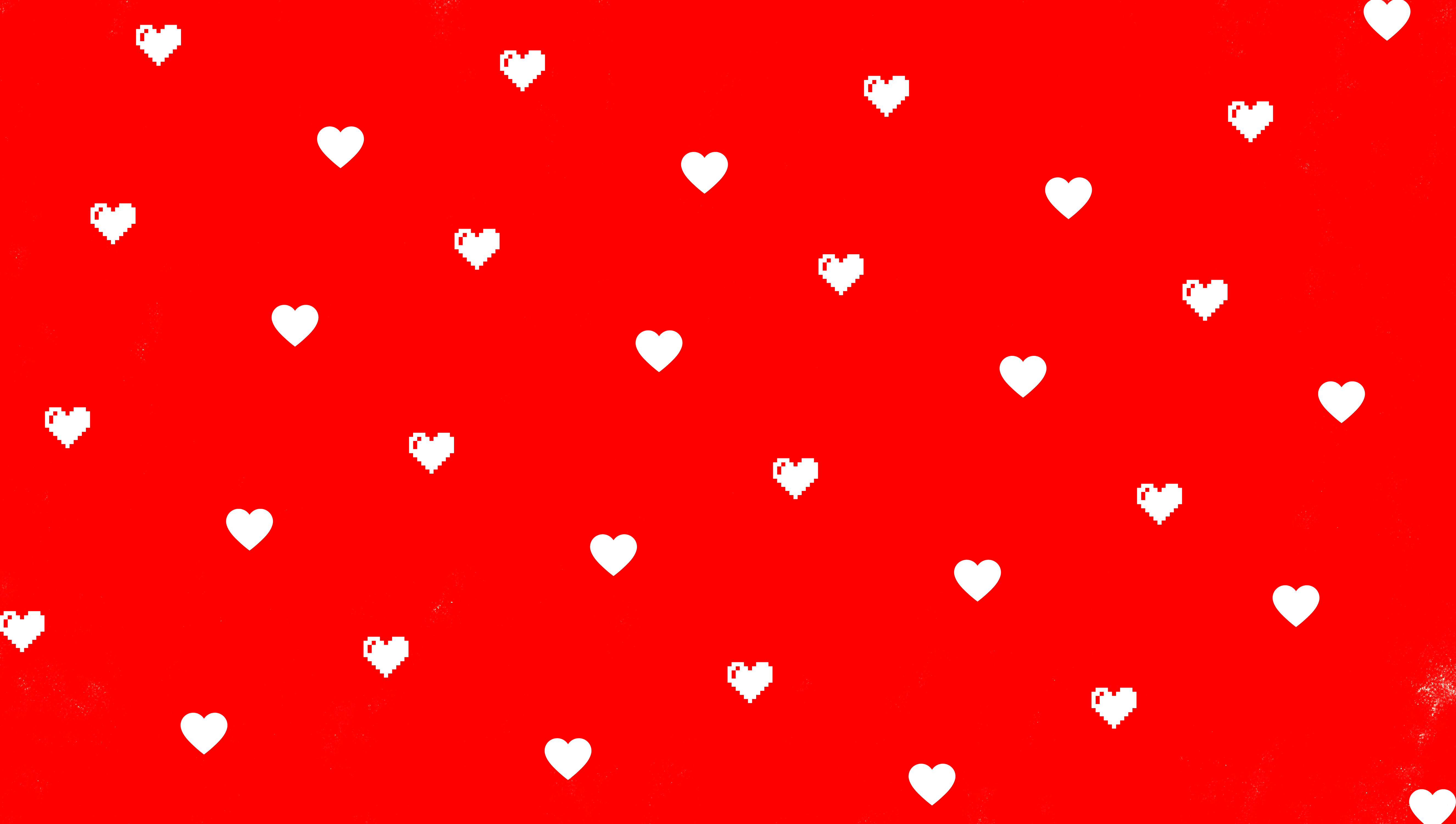 Love hearts on a red background