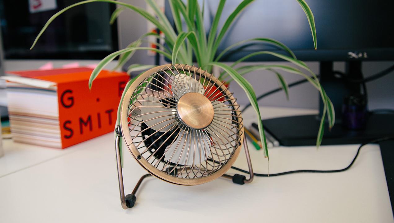 Portable fan.