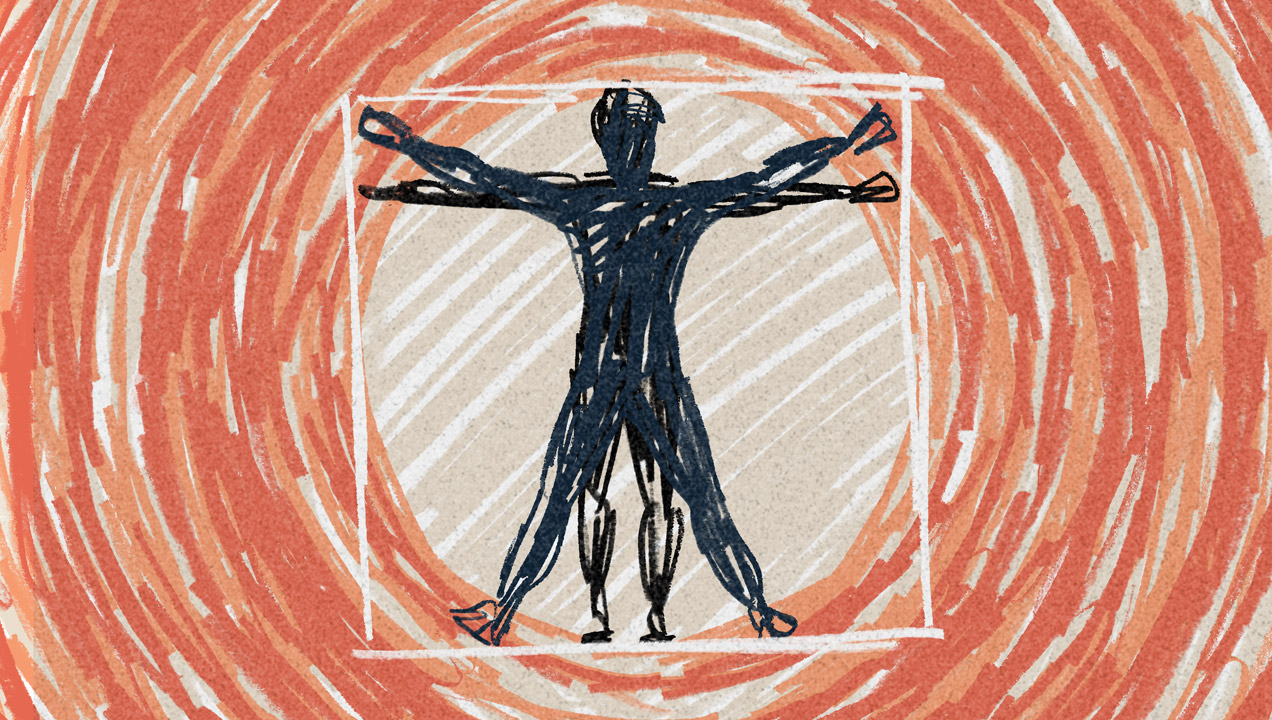 vitruvian man representing the many different channels companies use to reach out to their customers